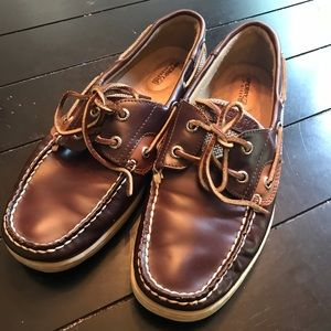 Sperry Topsider Boat Shoes Brown Leather 8.5M